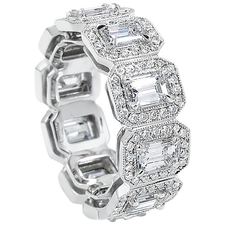 Emerald Cut Diamond Gold Eternity Band  1