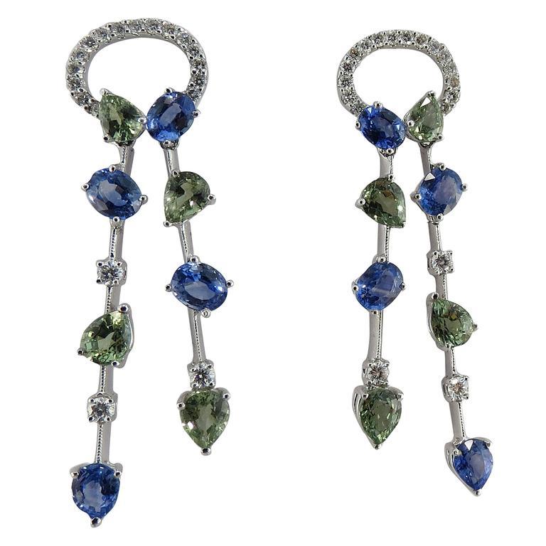 Jona Blue and Green Sapphire White Diamond 18 Karat White Gold Ear Pendants