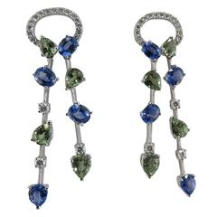 Jona Blue and Green Sapphire White Diamond 18 Karat White Gold Ear Pendants