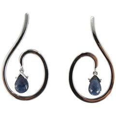 Jona Blue Sapphire 18 Karat White Gold Drop Earrings
