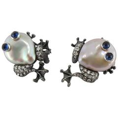 Jona Frog Pearl Sapphire White Diamond 18 Karat Yellow Gold Clip-on Earrings