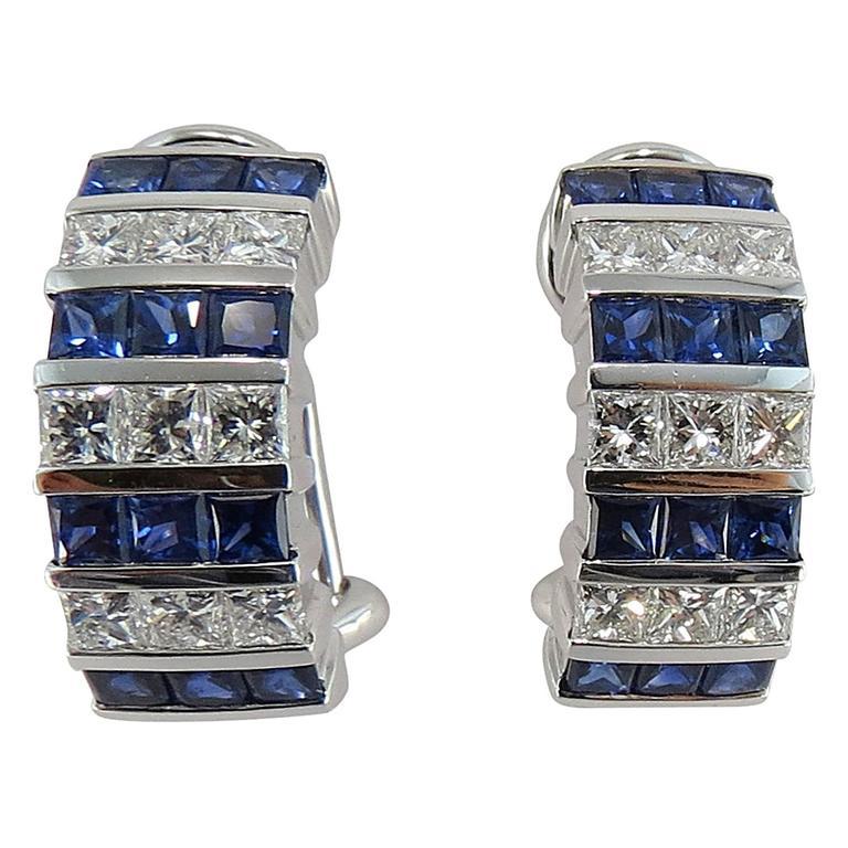 Jona Blue Sapphire White Diamond 18 White Gold Clip-On Earrings