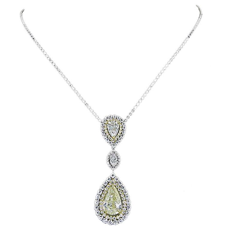 Fancy Yellow Pear Shaped Diamond gold necklace