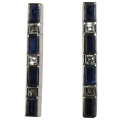 Jona Blue Sapphire White Diamond 18 Karat White Gold Bar Earrings
