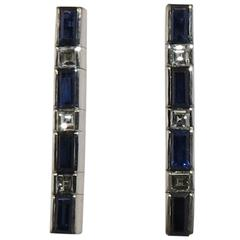 Jona Sapphire White Diamond 18k White Gold Bar Earrings