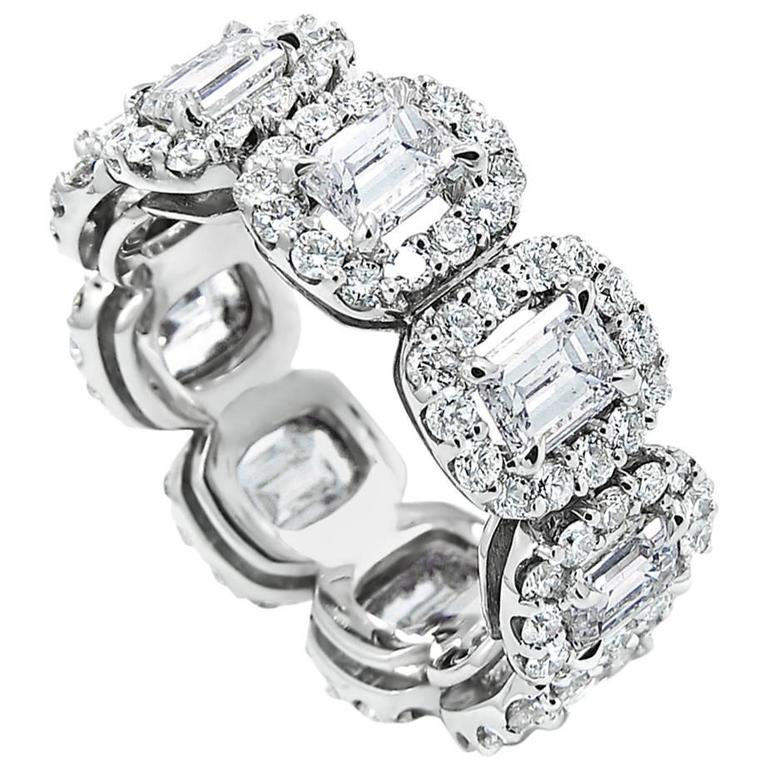 Emerald Cut Diamond gold Eternity Band Ring with Halo 1
