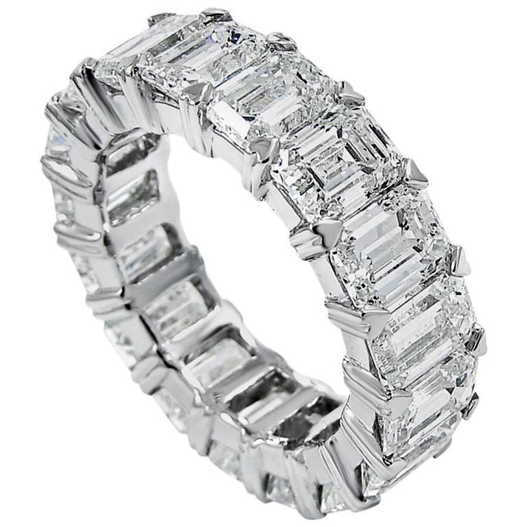 Emerald Cut Diamond Platinum Eternity Band Ring