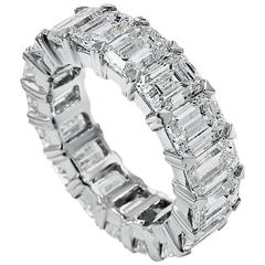 Emerald Cut Diamond Platinum Eternity Band Ring