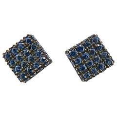 Jona Blue Sapphire 18 Karat White Gold Square Ear Studs