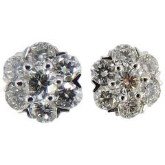 Jona White Diamond 18 Karat White Gold Cluster Earrings