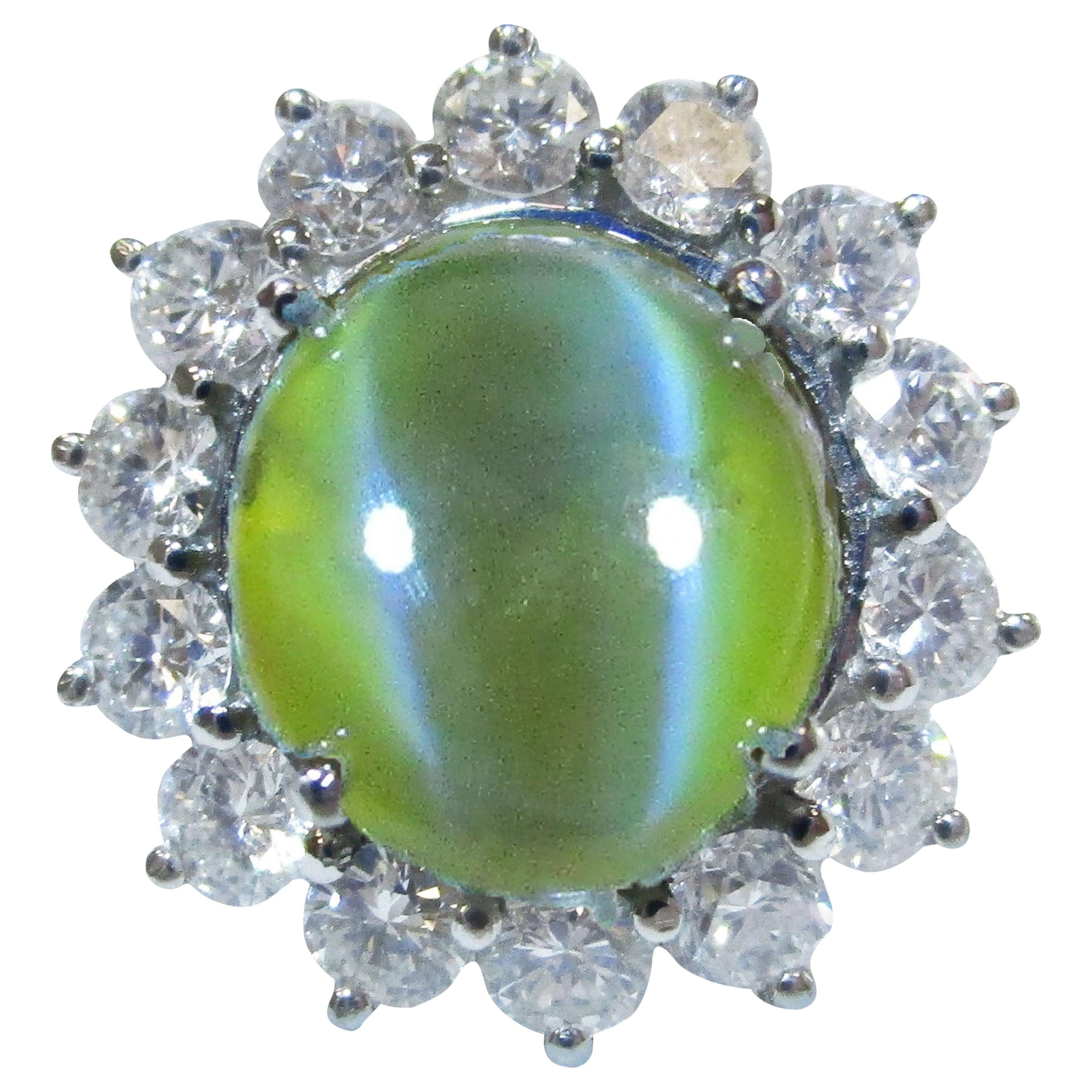 GIA Certified 7+ Carat Cat's Eye Chrysoberyl Platinum Diamond Ring