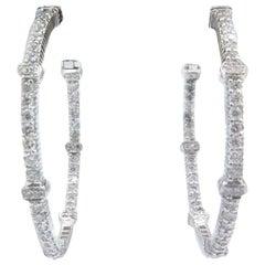 18 Karat White Gold Judith Ripka Diamond Hoop Earrings