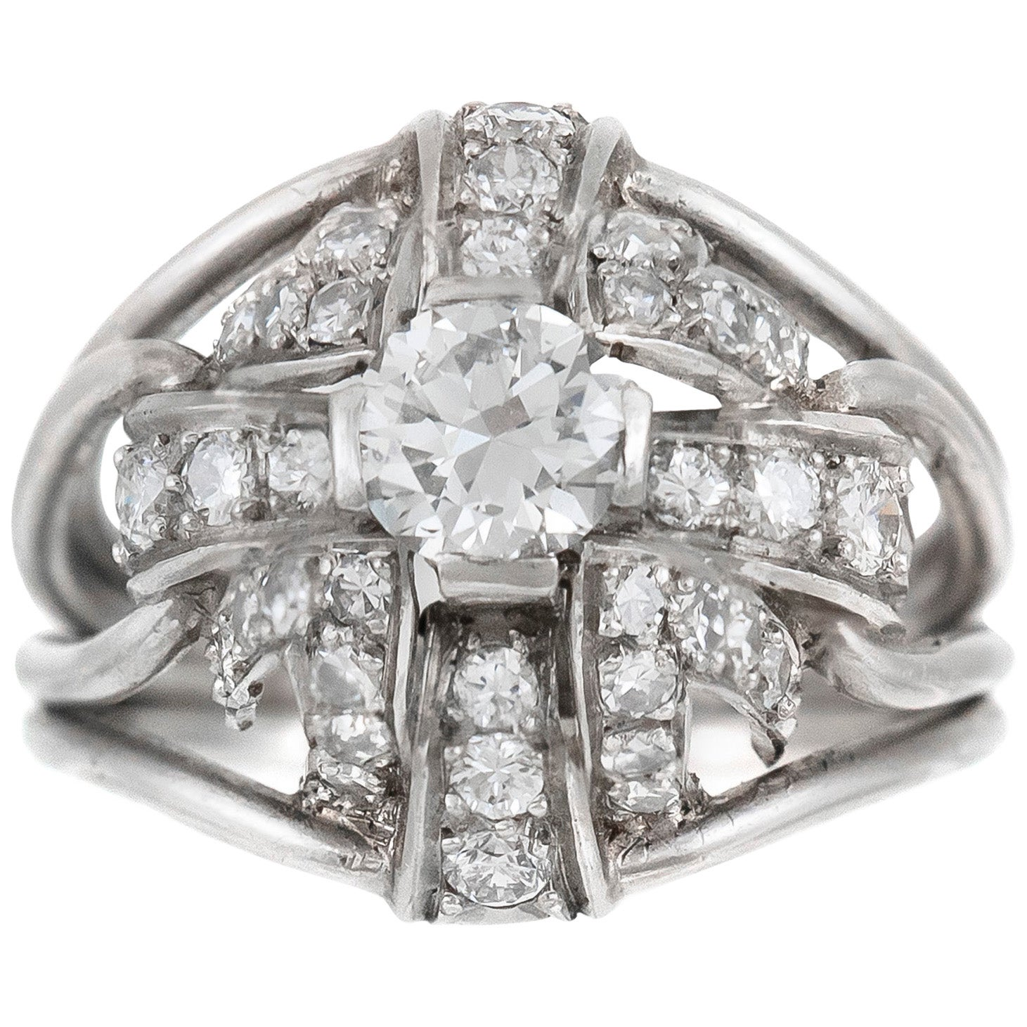 1940s 2.50 Round Diamonds with Platinum Ring