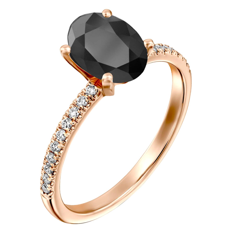 1.65 Carat 14 Karat Rose Gold Certified Oval Black Diamond Engagement Ring