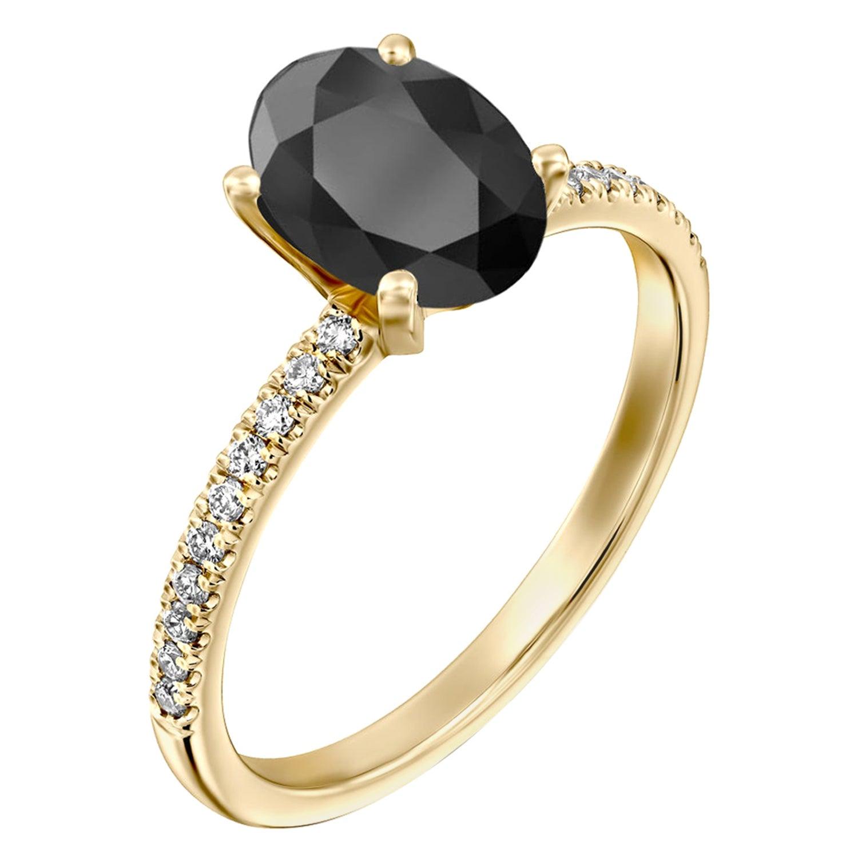 1.1 Carat 14 Karat Yellow Gold Certified Oval Black Diamond Engagement Ring