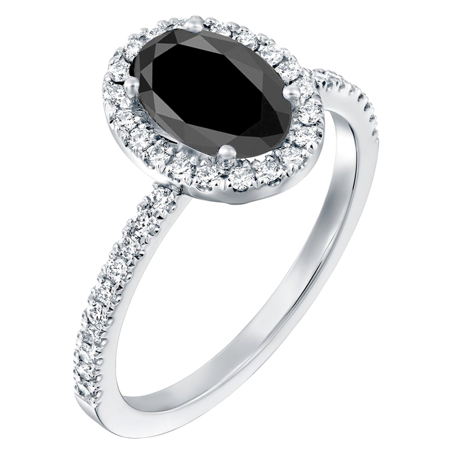 2.5 Carat 14 Karat White Gold Certified Oval Black Diamond Engagement Ring