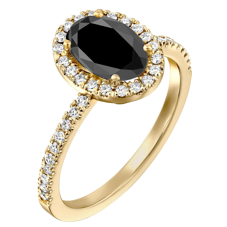 1.5 Carat 14 Karat Yellow Gold Certified Oval Black Diamond Engagement Ring
