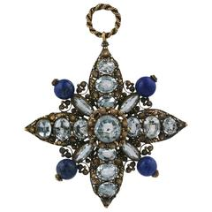 Georgian Aquamarine Lapis Cannetille Pendant Brooch