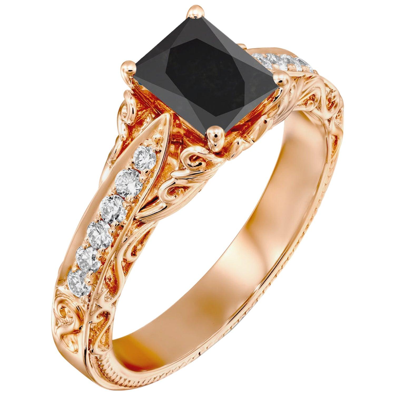 1 3/4 Carat 14 Karat Rose Gold Certified Radiant Black Diamond Engagement Ring