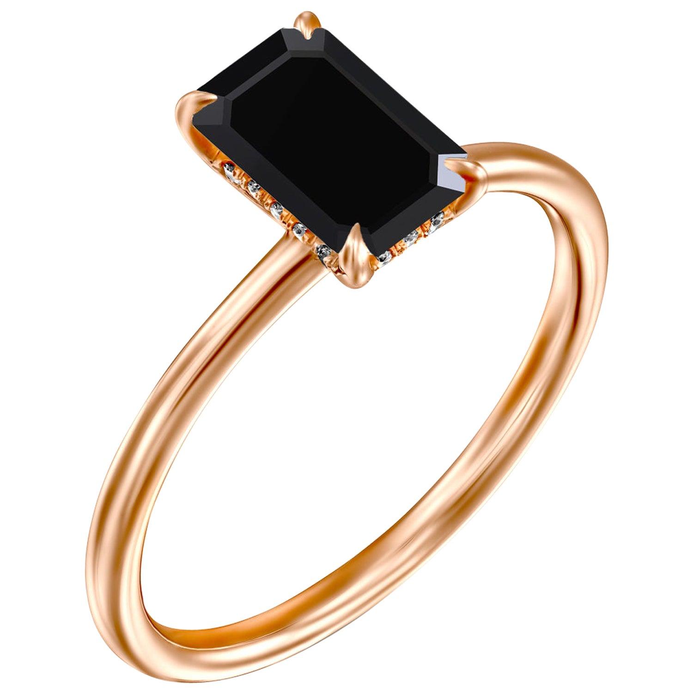 1 Carat 14 Karat Rose Gold Certified Emerald Black Diamond Engagement Ring