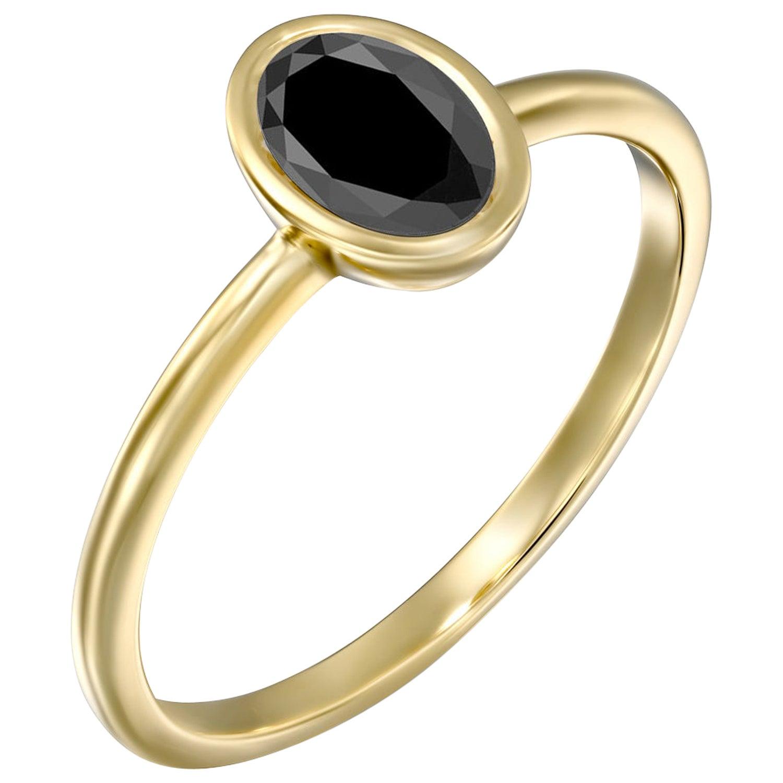 1 1/2 Carat 14 Karat Yellow Gold Certified Oval Black Diamond Engagement Ring