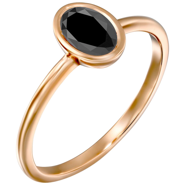 1 Carat 14 Karat Rose Gold Certified Oval Black Diamond Engagement Ring