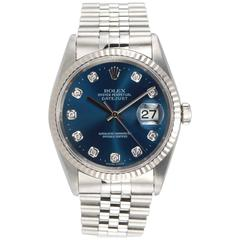 Rolex Stainless Steel Diamond Blue Dial DateJust Wristwatch Ref 1623