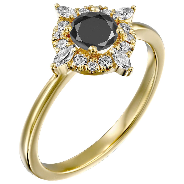 1 Carat 14 Karat Yellow Gold Certified Round Black Diamond Engagement Ring