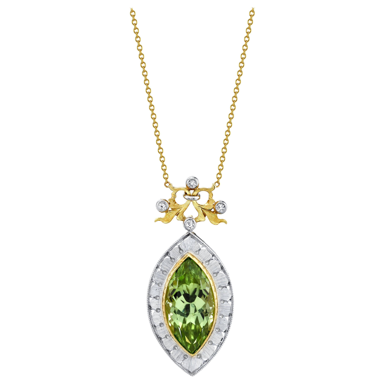 7.48 Carat Peridot Marquise, Diamond Halo, Handmade Bezel Yellow Gold Necklace