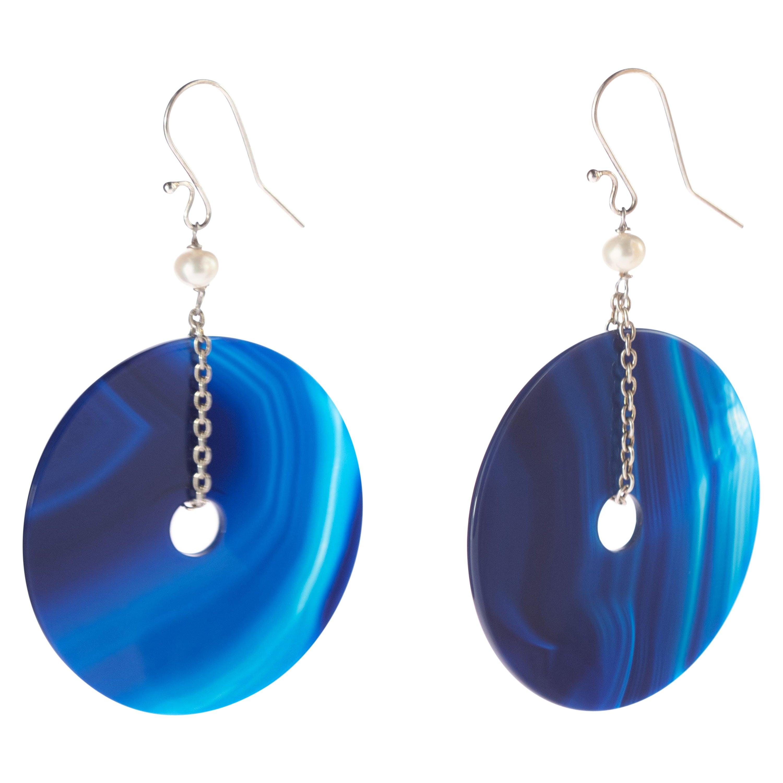 Blue Gradient Agate Round Donut Pearl 925 Sterling Silver Dangle Long Earrings