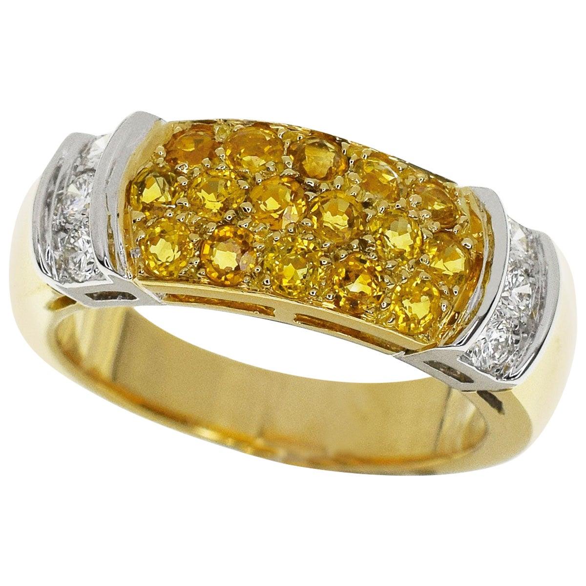Van Cleef & Arpels 18 Karat Yellow White Gold Yellow Sapphire Diamond Ring US 6