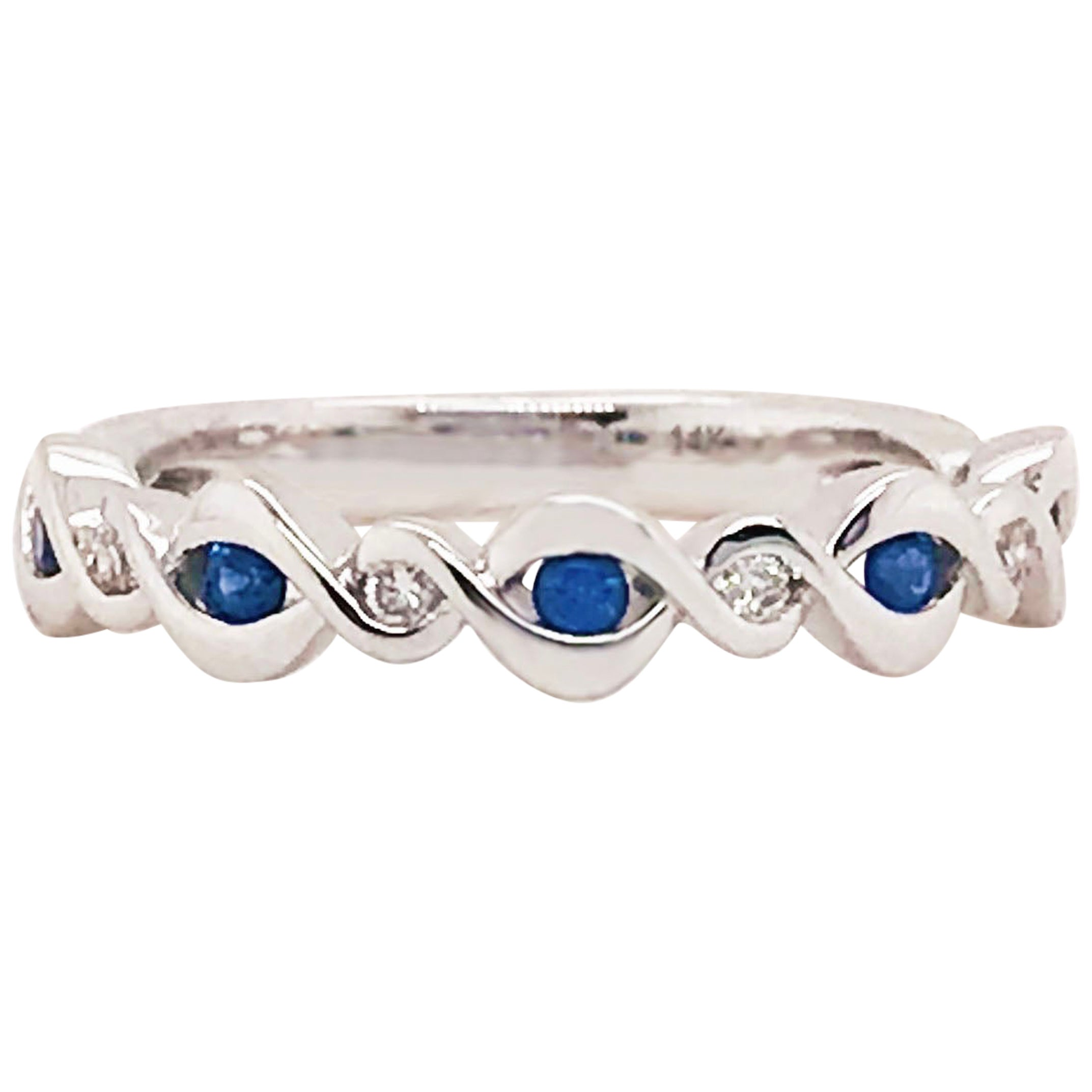 Sapphire and Diamond Infinity Band, 14 Karat Gold Blue Sapphire and Diamond Ring