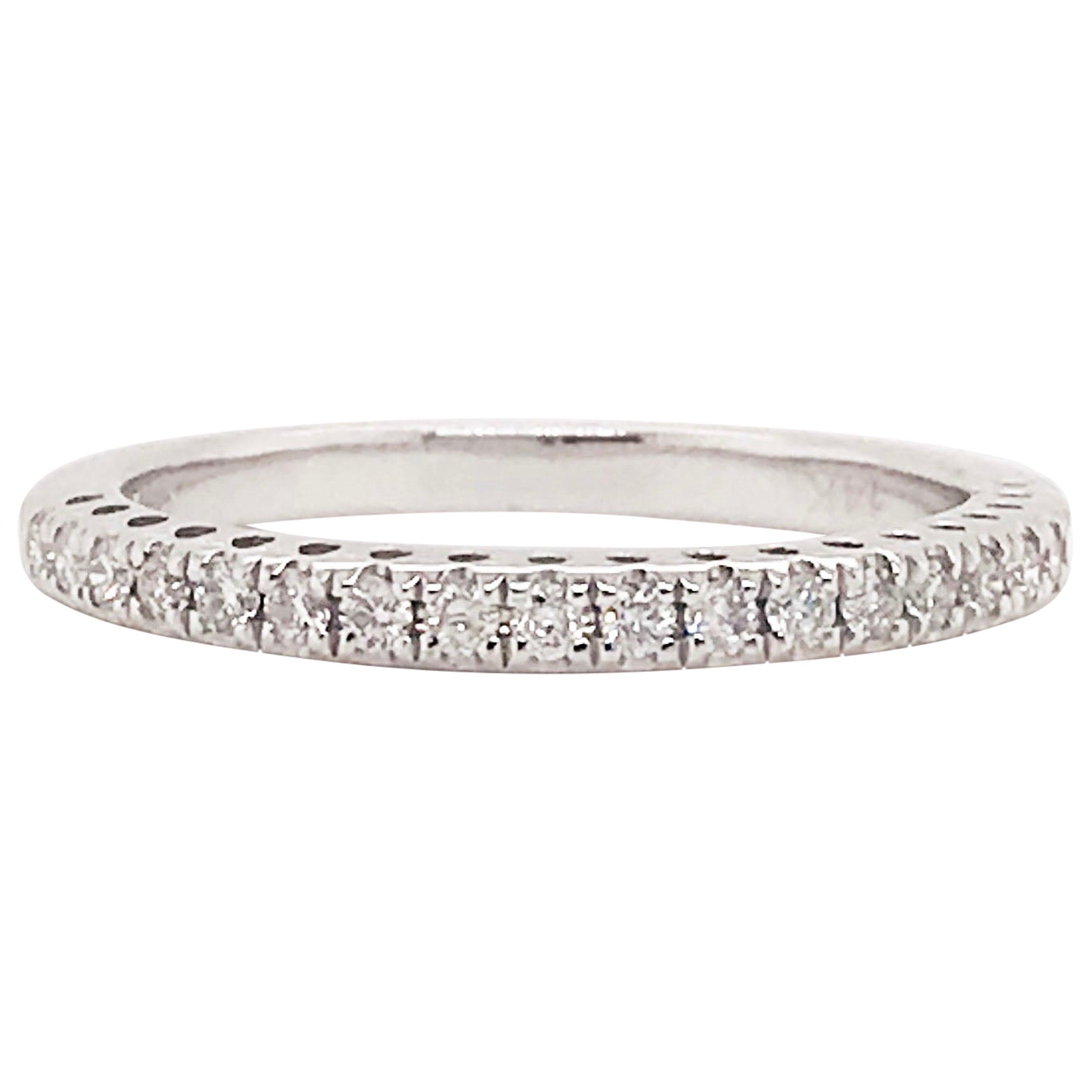 Diamond Half Band, 14 Karat Gold Diamond Wedding Band, Diamond Stackable Ring