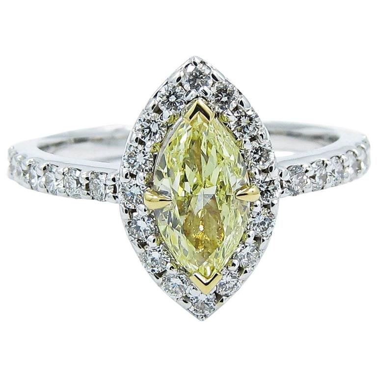 Fancy Yellow GIA Certified Marquise Diamond Gold Engagement Ring