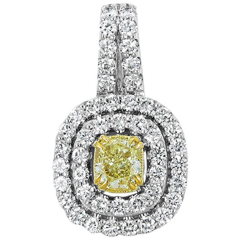 Fancy Yellow Radiant Cut Diamond Gold Double Halo Pendant