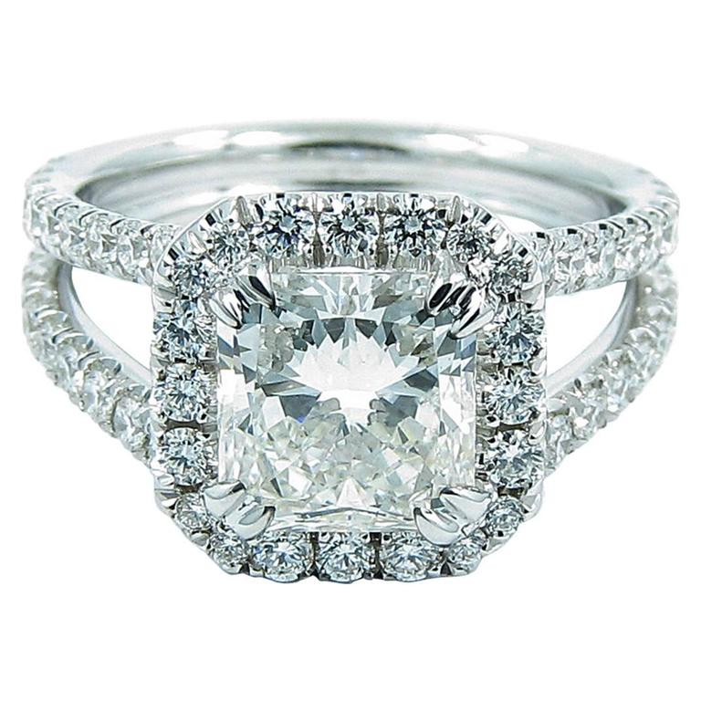 2.01 Radiant GIA Report Diamond gold Engagement Ring 1