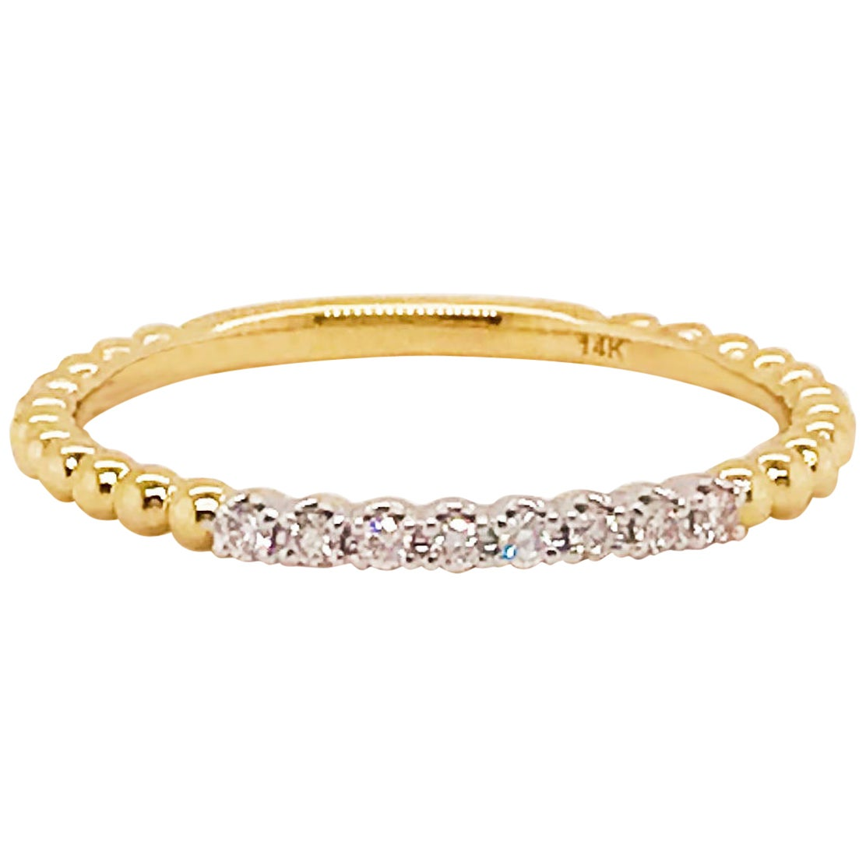 Diamond Stackable Ring, 14 Karat Yellow Gold Diamond Band with Beaded Texture