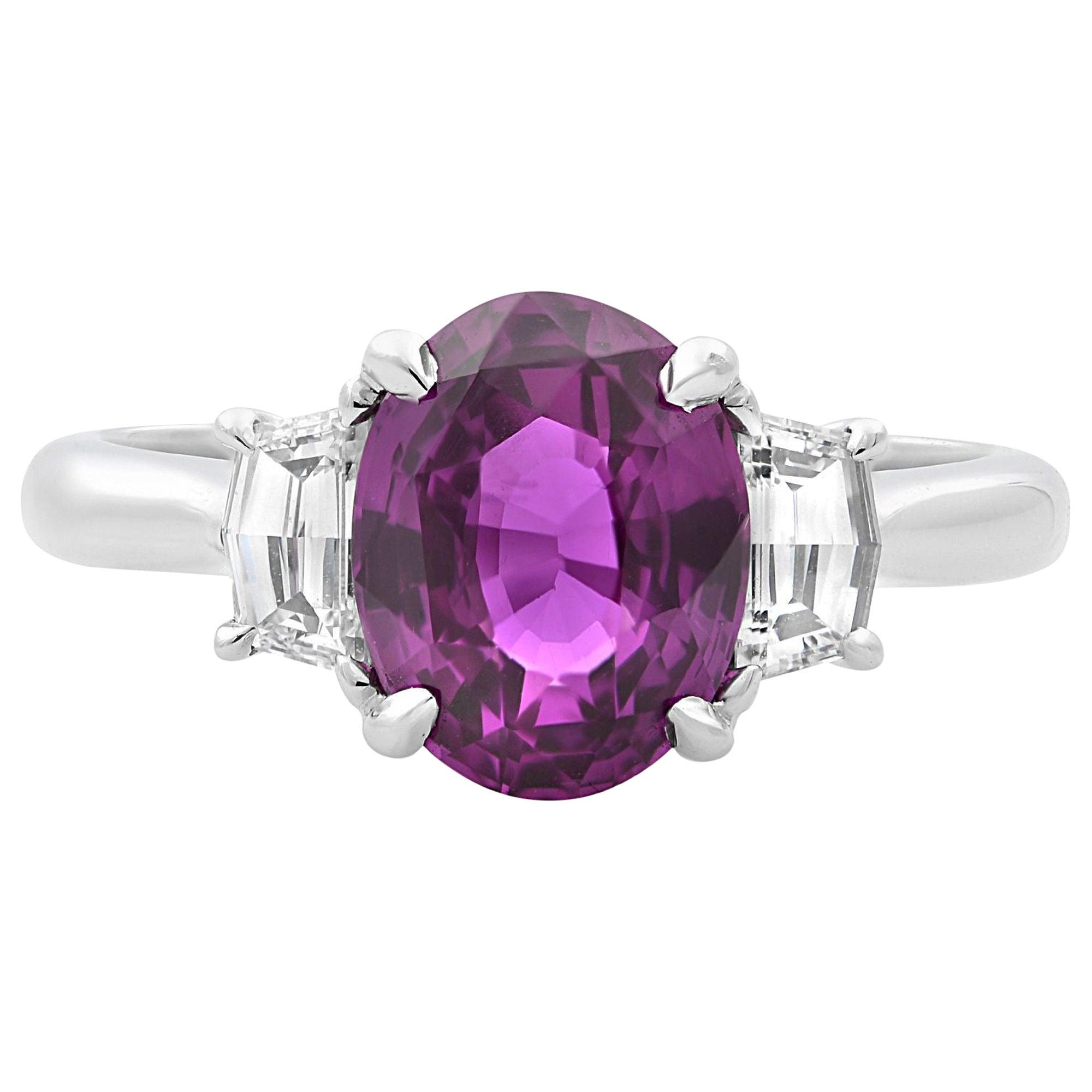 18 Karat White Gold Oval Pink Sapphire and Diamond Three-Stone Ring 2.61 Carat