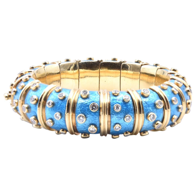 Tiffany & Co. Schlumberger Blue Paillonne Enamel and Diamond Bangle Bracelet