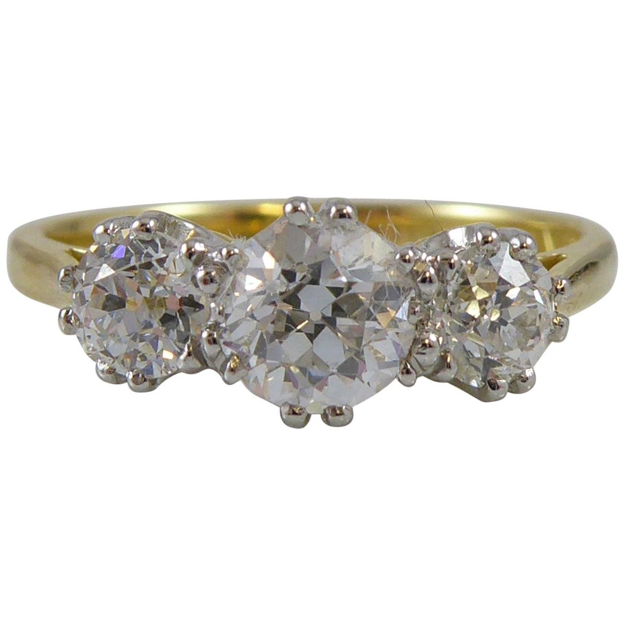 1.03 Carat Old European Cut Diamond Three-Stone Ring