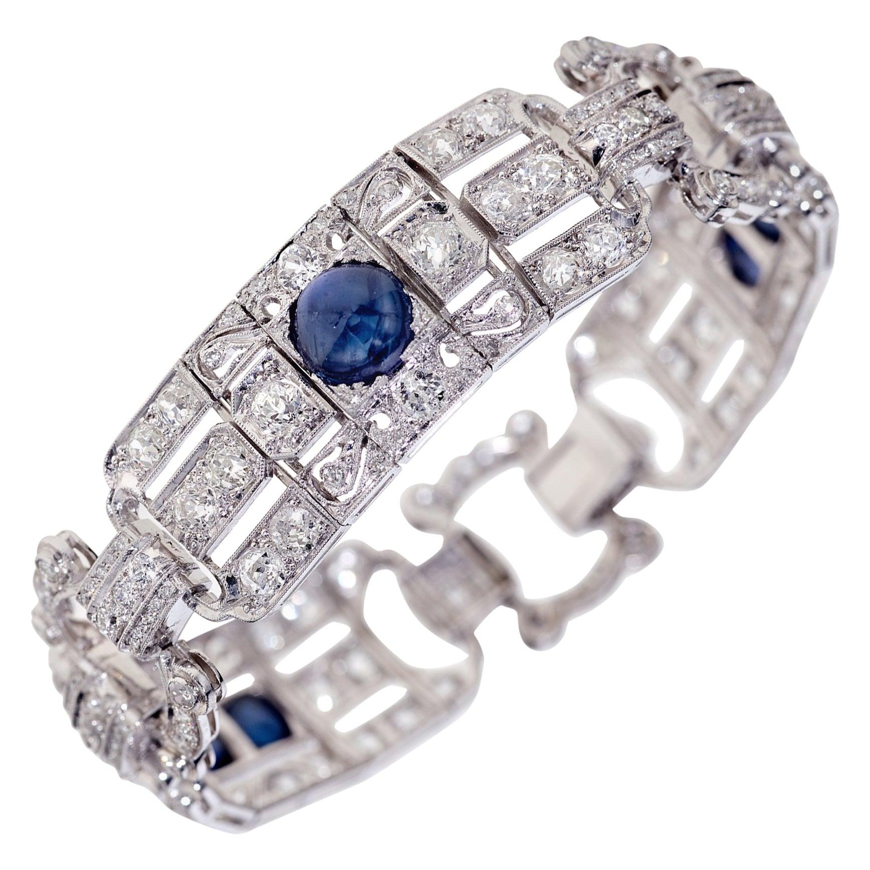 15.25 Carat Sapphire and Diamond Art Deco Bracelet in Platinum