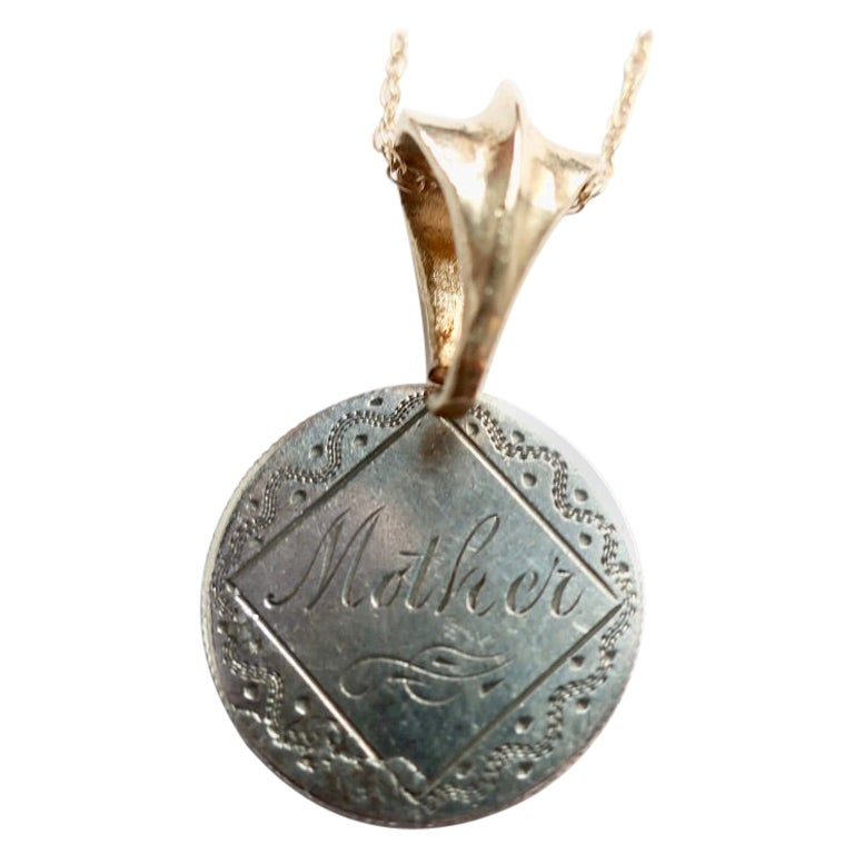 """Love Token Engraved """"Mother"""" Dime and 14 Karat Gold Bail"""