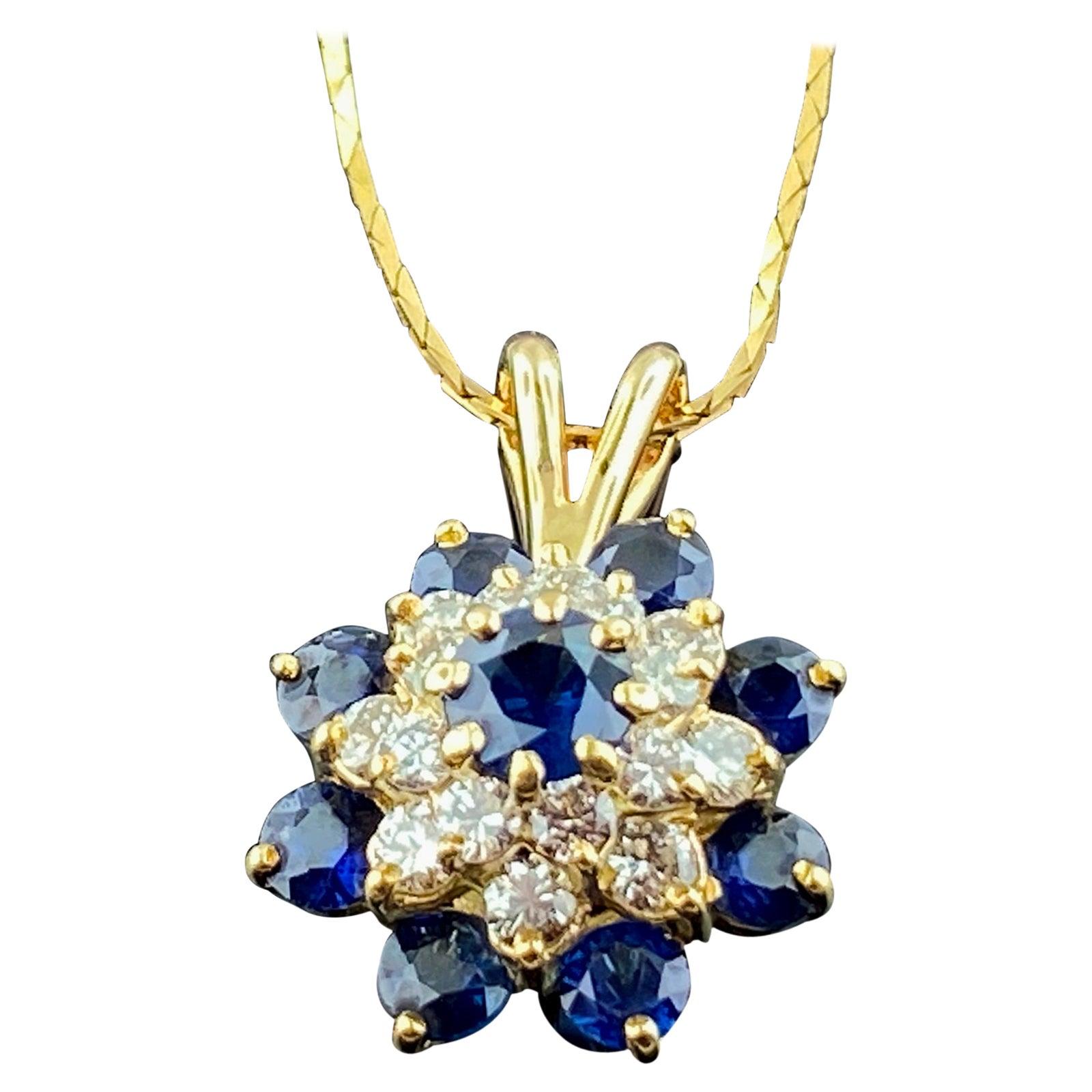 14 Karat Yellow Gold Diamond and Blue Sapphire Pendant
