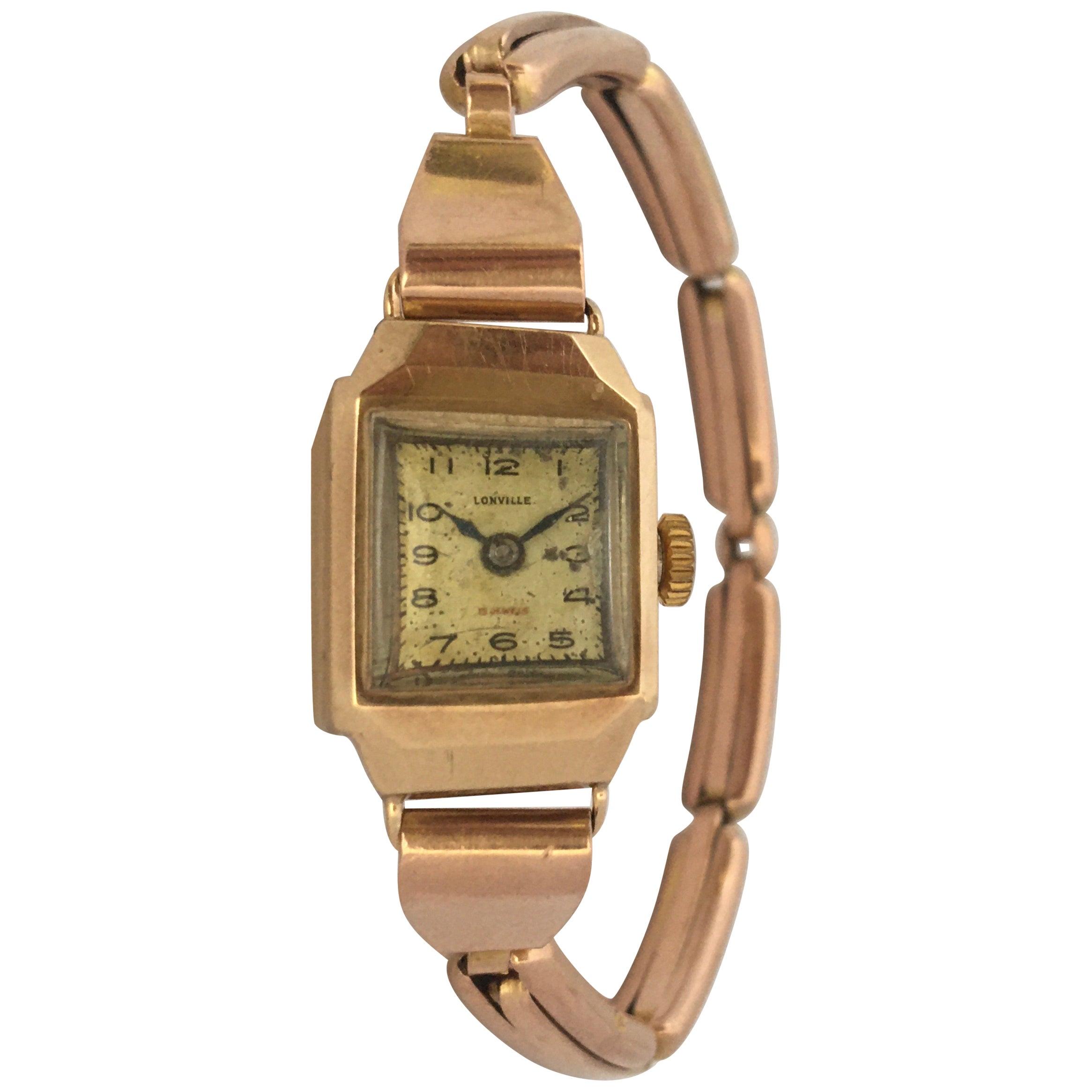 9 Karat Gold Vintage 1940s Ladies Swiss Mechanical Watch