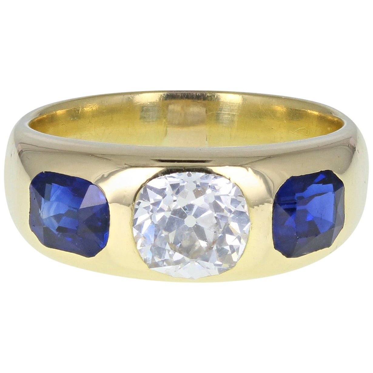 18 Carat Gold Old Cut Diamond Blue Sapphire Three-Stone Heavy Band Ring