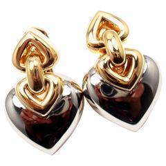Bulgari Doppio Heart Two Color Gold Drop Earrings