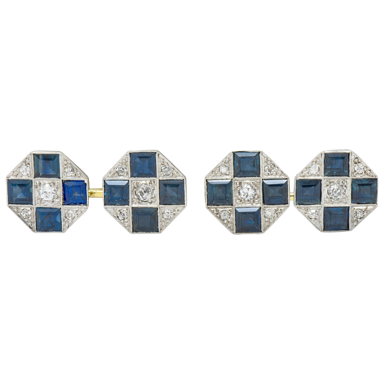 Art Deco Sapphire Diamond Platinum 14 Karat Gold Men's Octagonal Cufflinks