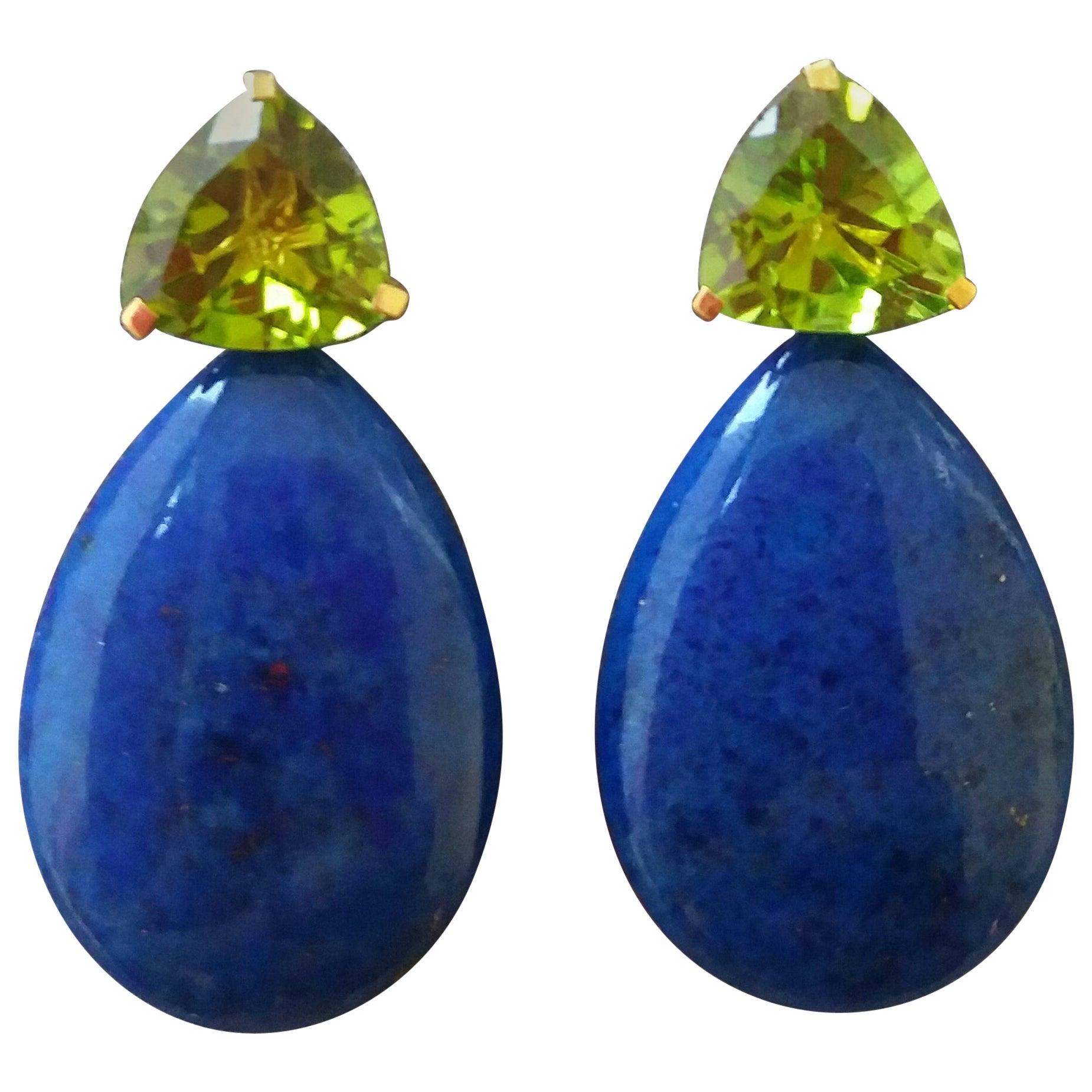 Trillion Cut Peridot Lapis Lazuli Plain Drops 14 kt Solid Yellow Gold Earrings