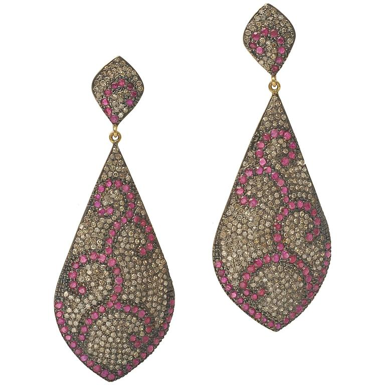 Pave, Set Ruby and Diamond Chandelier Earrings