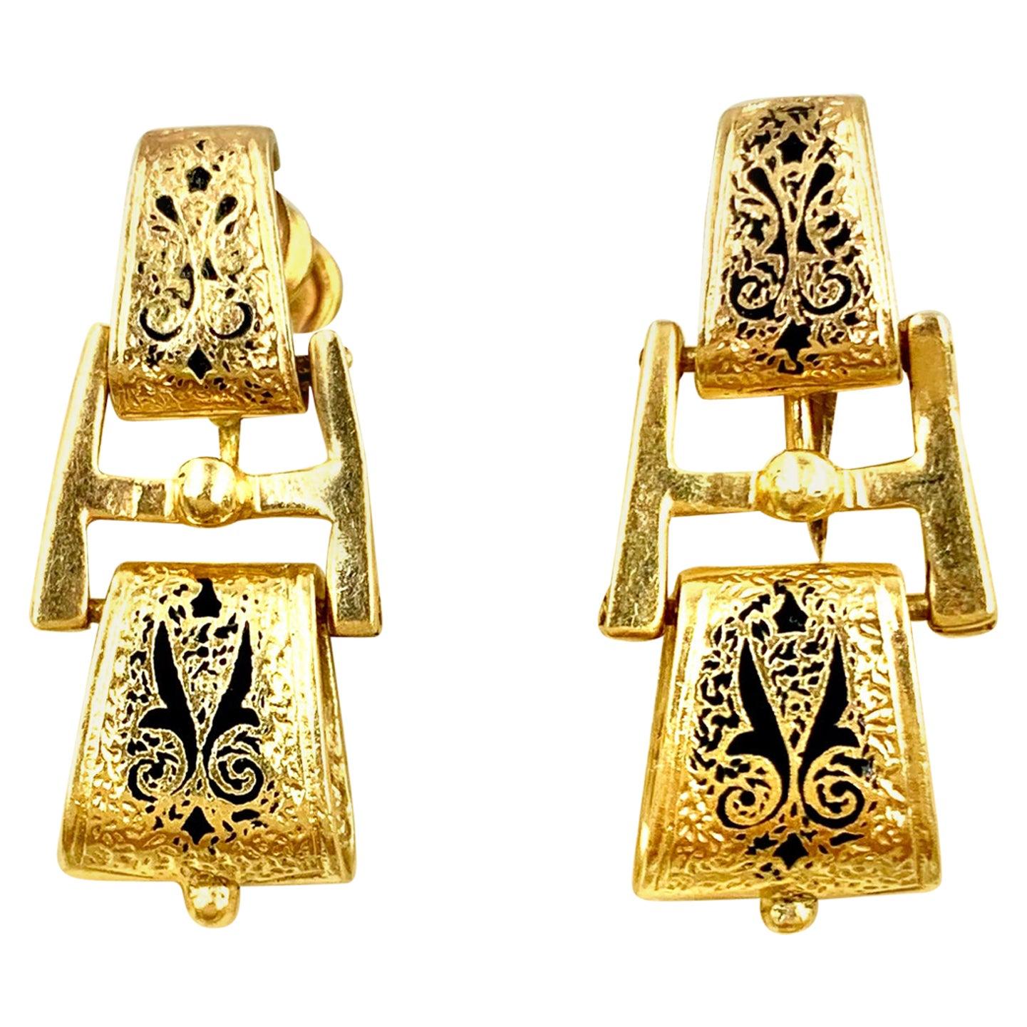 Victorian Etruscan Revival 14 Karat Yellow Gold Enamel Doorknocker Earrings